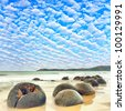 Moeraki Boulders at day time. New Zealand - stock photo