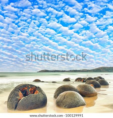 Moeraki Boulders at day time. New Zealand - stock photo