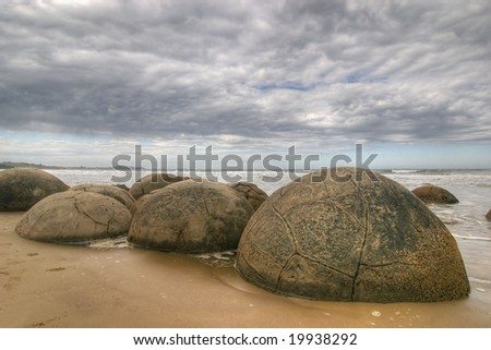Moeraki Boulders in New Zealand (Southisland) - stock photo