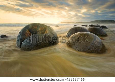 Moeraki boulders in South Island, New Zealand. - stock photo