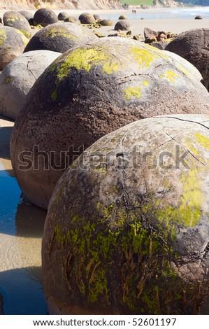 Moeraki Boulders New Zealand Otago coast - stock photo