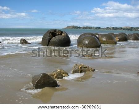 Moeraki boulders. Pacific coast. New Zealand - stock photo