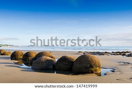 Moeraki Boulders panorama. New Zealand  - stock photo