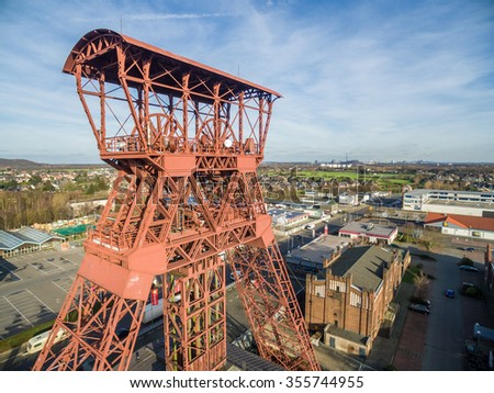 MOERS / GERMANY - DECEMBER 27 2015 - Aerial shot if the headframe of the historic coal mine Rheinpreussen in the sun