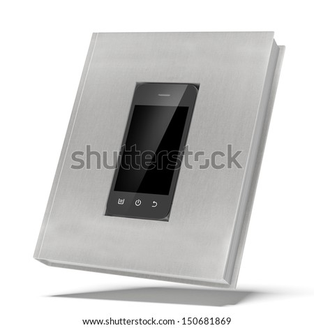 mofern phone in the book - stock photo