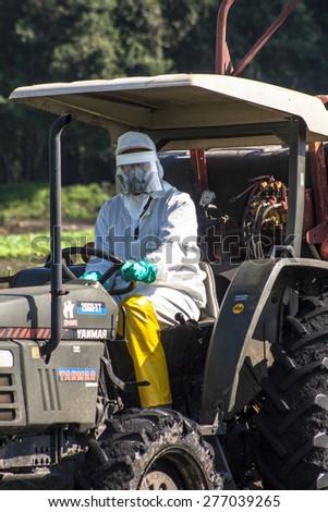 MOGI DAS CRUZES, BRAZIL, JULY 01, 2009. Spraying wheat crops field with tractor and sprayer - stock photo