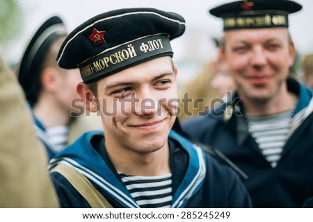 MOGILEV, BELARUS - MAY, 08, 2015: Unidentified re-enactor dressed as Soviet sailor during events dedicated to 70th anniversary of the Victory of the Soviet people in the Great Patriotic War.