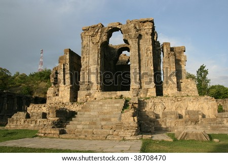 Mogul temple, srinagar, kashmir - stock photo