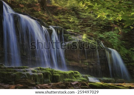 Mohawk Falls at Ricketts Glen in Pennsylvania - stock photo