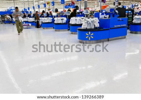 MOHEDAN LAKE, USA - FEBRUARY 2: interior of WalMart department store in Mohegan Lake, USA on February 2,2010. WalMart is world third largest public corporation according to Fortune Global 500 in 2012 - stock photo