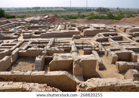 MOHENJO- DARO, PAKISTAN â?? MARCH 28 2015: Mohenjo-daro is an ancient Indus Valley Civilization city that built 2600 BCE and flourished till 1900 BCE.The site is currently threatened by erosion.   - stock photo