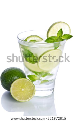 Mohito mojito drink with ice mint and lime. Isolated on white ba - stock photo