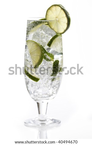 mohito with lime and mint isolated on white