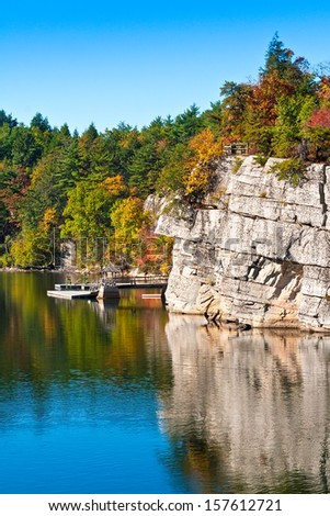 Mohonk lake and mountainside in New Paltz, New York - stock photo