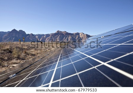 Mojave desert solar array at Red Rock Canyon National Conservation Area. - stock photo