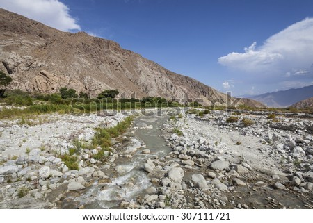 Mojave desert wash run off near Palm Springs in southern California.