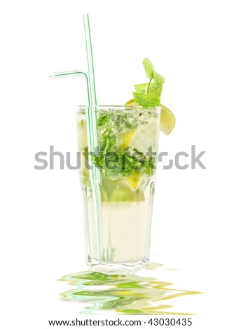 mojito alcohol fresh cocktail with lemon and lime isolated on a white