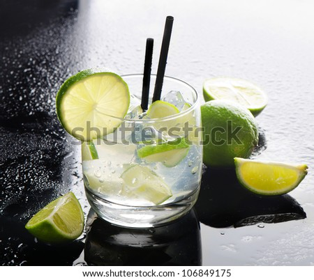 Mojito and limes - stock photo
