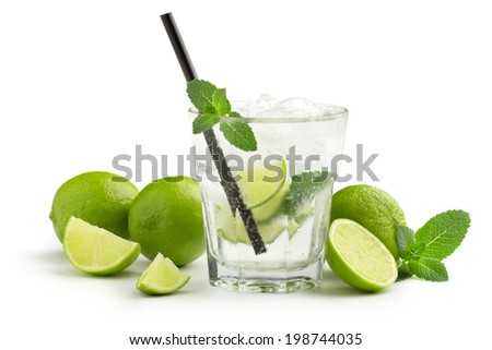 mojito cocktail and fresh ingredients on white background - stock photo