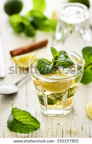 Mojito cocktail and ingredients on rustic wooden table