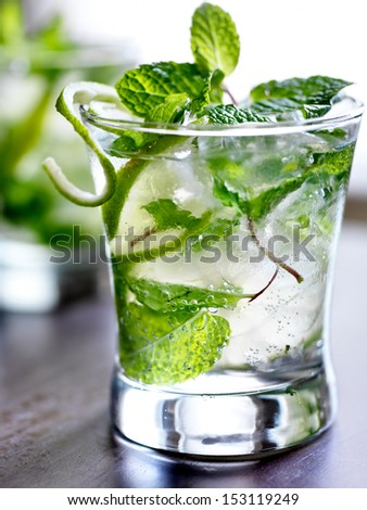mojito cocktail close up - stock photo