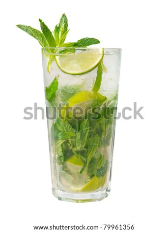 Mojito cocktail  closeup isolated on white background. - stock photo