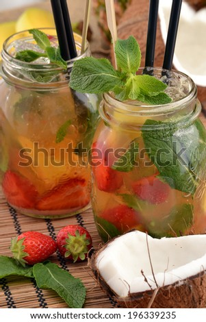 Mojito cocktail drink and fruits.Jamaica julep's - stock photo