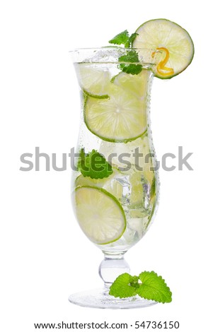 mojito cocktail drink in a tall glass with lime isolated on a white background - stock photo