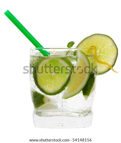 mojito cocktail drink with lime isolated on a white background