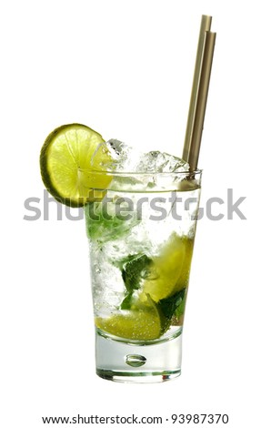 Mojito cocktail drink with lime isolated on white background - stock photo