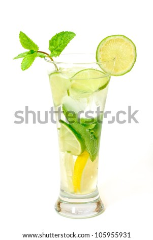 Mojito Cocktail in a Glass Beaker, on white background