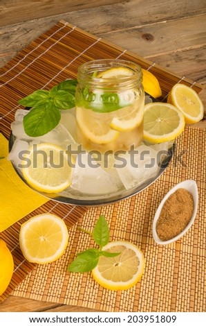 Mojito cocktail in a studio shot served on ice - stock photo