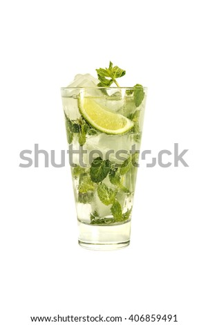 Mojito cocktail isolated on a white background. - stock photo