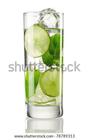Mojito cocktail isolated on white