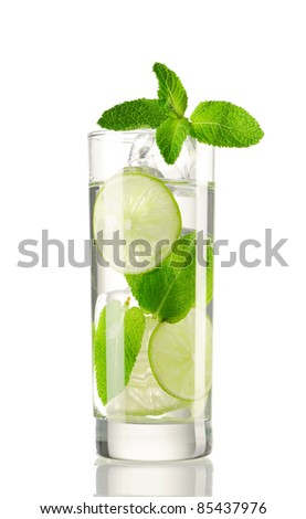 Mojito cocktail isolated on white - stock photo