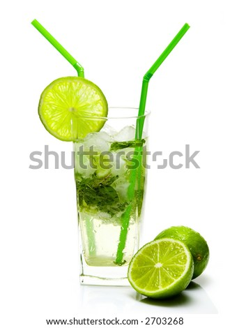 Mojito cocktail isolated on white background - stock photo