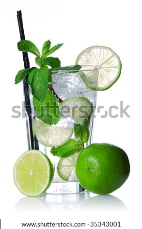 Mojito cocktail isolated on white. Soft reflection.
