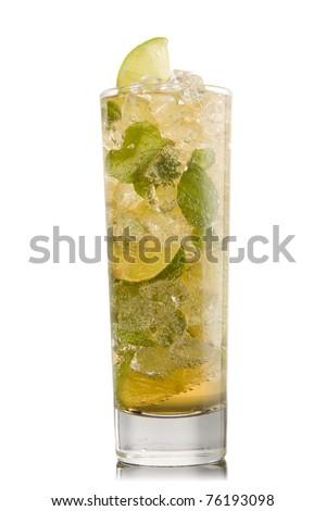 Mojito cocktail isolation on a white - stock photo