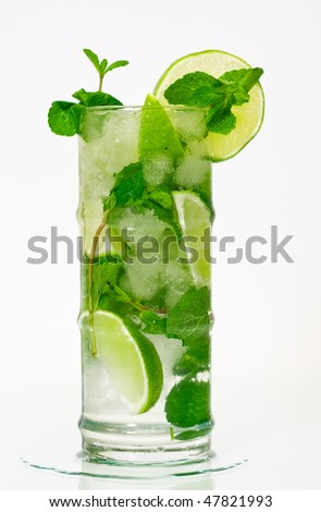 Mojito cocktail on isolated white background