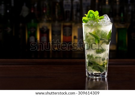 mojito cocktail on the bar - stock photo