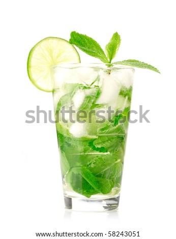 Mojito cocktail on white background - stock photo