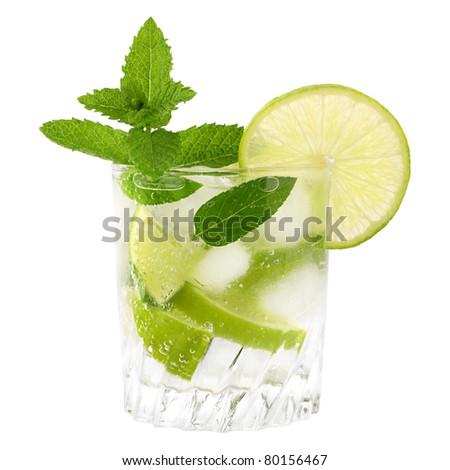 mojito cocktail on white background - stock photo