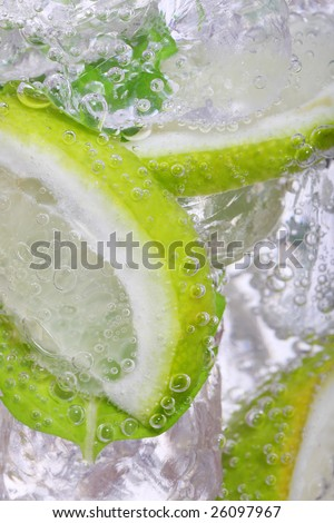 mojito cocktail, white rum, lime and mint - stock photo