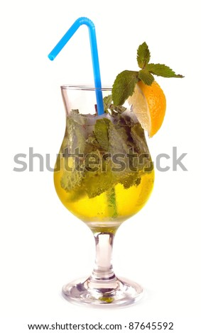 Mojito cocktail with lemon and gold tequila