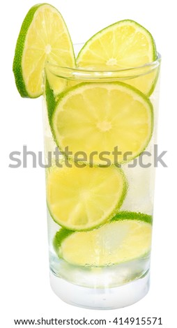 mojito cocktail with lime and ice cube on white background. - stock photo