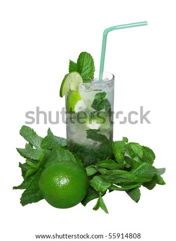 mojito cocktail with lime isolated on white