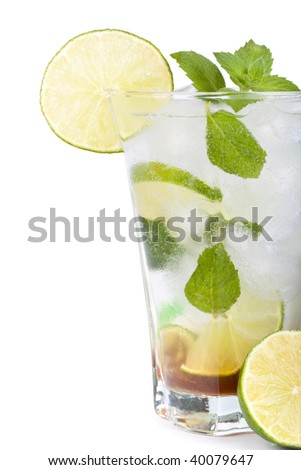 Mojito cocktail with lime, mint leaves and ice on a white background