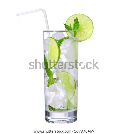 Mojito. Cocktail with straw isolation on white - stock photo