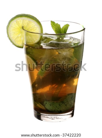 Mojito cool cuban cocktail isolated on white background