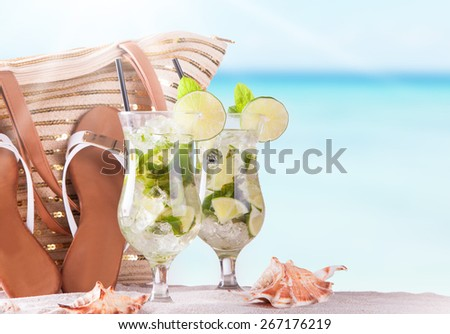 Mojito drink and summer accessories, Summer concept - stock photo